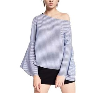 Zara Trafaluc Striped Bell-Sleeved Blouse
